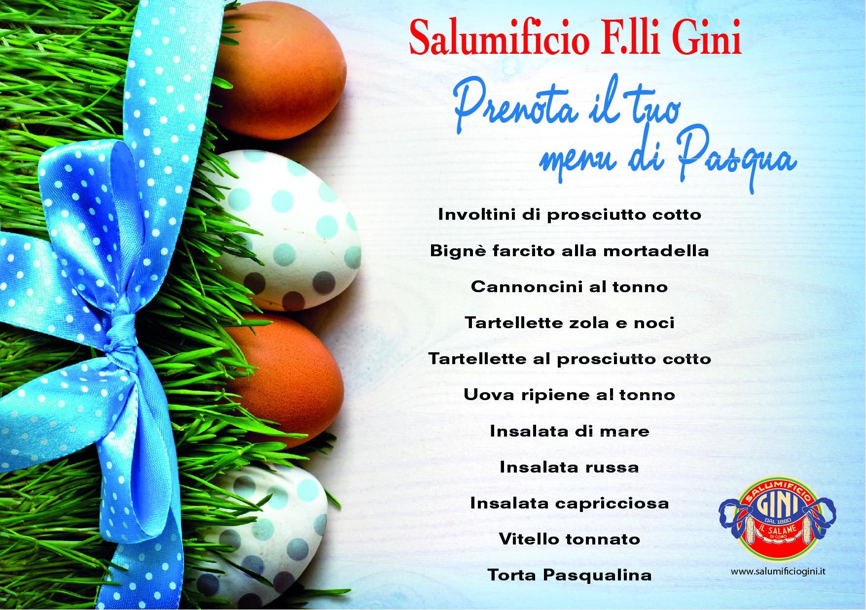 menu salumificio Gini Pasqua 2020